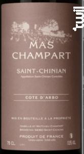 Cote d'Arbo - Mas Champart - 2017 - Rouge