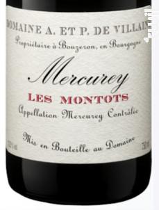 Mercurey Les Montots - Domaine de Villaine - 2016 - Rouge