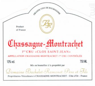CHASSAGNE MONTRACHET 1er cru Clos St Jean - Domaine Bachelet-Ramonet - 2016 - Rouge