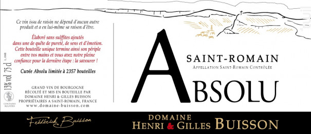 Absolu - Domaine Henri & Gilles Buisson - 2017 - Rouge