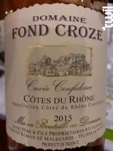 Cuvée Confidence - Domaine Fond Croze - 2012 - Rouge