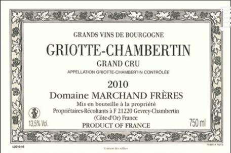 GRIOTTE CHAMBERTIN Grand Cru - Domaine Marchand Frères - 2013 - Rouge