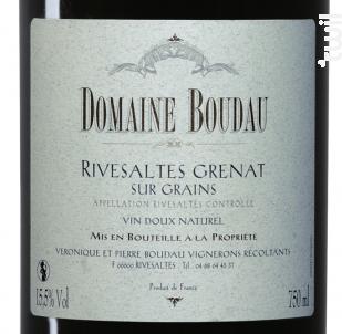 Rivesaltes sur Grains - Domaine BOUDAU - 2018 - Rouge