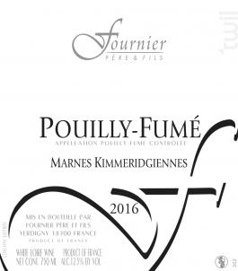 Pouilly Fumé Les Marnes Kimméridgiennes - FOURNIER Père & Fils - 2014 - Blanc