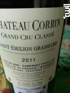 Grand Cru Classé - Château Corbin - 2011 - Rouge