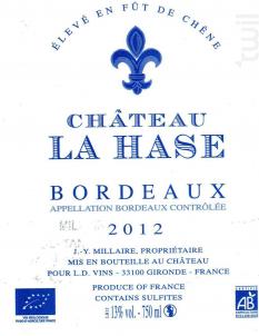 LA HASE - BIO - Château la Hase - 2015 - Rouge