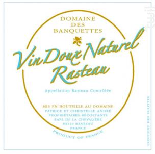 Vin Doux Naturel Rasteau - Domaine des Banquettes - 2016 - Rouge