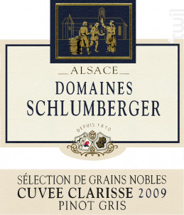 Pinot Gris SGN Cuvée Clarisse - Domaines Schlumberger - 2009 - Blanc