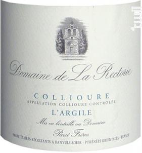 ARGILE - Domaine de la Rectorie - 2014 - Blanc