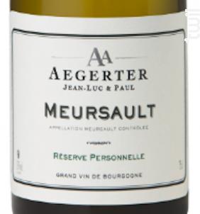 Meursault - Jean Luc et Paul Aegerter - 2016 - Blanc