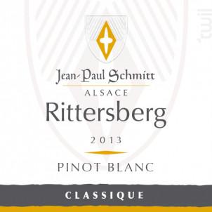 Pinot Blanc Rittersberg Classique - Domaine Jean-Paul Schmitt - 2018 - Blanc