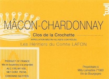 Mâcon-Chardonnay Clos de la Crochette - Domaine Les Héritiers du Comte Lafon - 2016 - Blanc