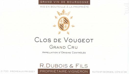 Clos de Vougeot Grand cru - Domaine R. Dubois et Fils - 2012 - Rouge
