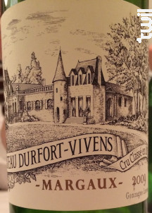 Château Durfort-Vivens - Château Durfort-Vivens - 1991 - Rouge
