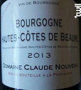 Bourgogne Hautes Côtes de Beaune Vieilles Vignes - Domaine Claude Nouveau - 2015 - Rouge
