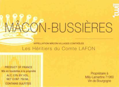 Mâcon-Bussières - Domaine Les Héritiers du Comte Lafon - 2014 - Blanc