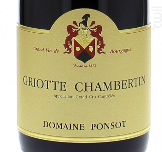 GRIOTTE CHAMBERTIN - Domaine Ponsot - 2014 - Rouge