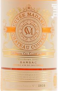 Cuvée Madame - Château Coutet - Barsac - 2003 - Blanc