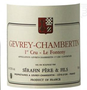 GEVREY CHAMBERTIN 1er cru Le Fonteny - Sérafin Père & Fils - 2016 - Rouge