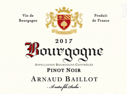 Bourgogne  Pinot Noir - Domaine Arnaud Baillot - 2017 - Rouge