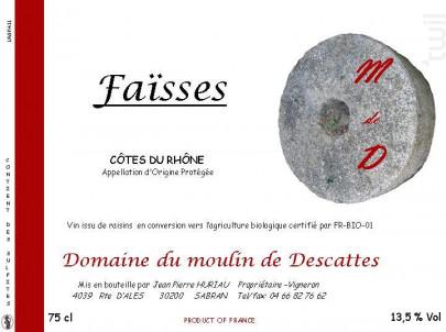 Faïsses - Domaine du Moulin de Descattes - 2015 - Rouge