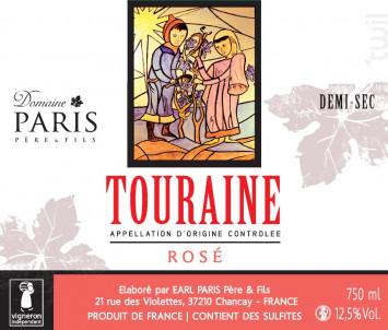 Touraine Rosé méthode traditionnelle demi-sec - Domaine Paris Père et Fils - Non millésimé - Effervescent