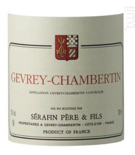 GEVREY CHAMBERTIN - Sérafin Père & Fils - 2016 - Rouge