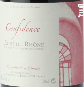 Confidence - Vignobles Mayard - 2019 - Rouge