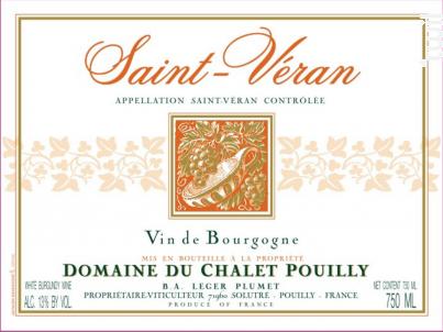 Saint Véran - Domaine du Chalet Pouilly - 2018 - Blanc