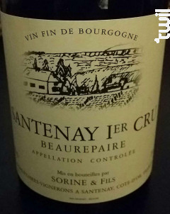 Santenay 1er Cru Beaurepaire - Domaine Sorine et Fils - 2016 - Rouge