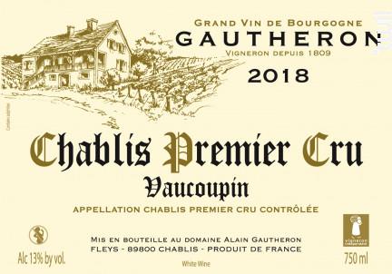 Chablis Premier Cru Vaucoupin - Domaine Gautheron Alain et Cyril - 2018 - Blanc