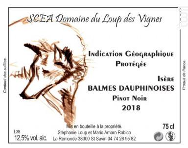 Vin IGP  Isère pinot noir - Domaine du Loup des Vignes - 2018 - Rouge