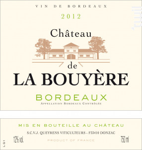 ChÂteau De La Bouyere - Chateau De La Bouyere - 2016 - Blanc