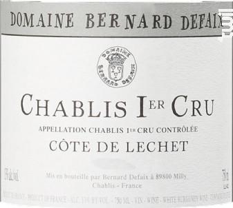 Chablis Premier Cru Côte de Léchet - Domaine Bernard Defaix - 2018 - Blanc