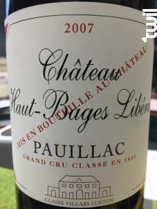 Château Haut-Bages Libéral - Domaines Claire Villars Lurton - 2007 - Rouge