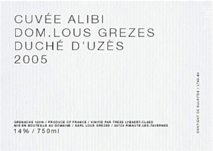 Alibi - Domaine Lous Grezes - 2016 - Rouge