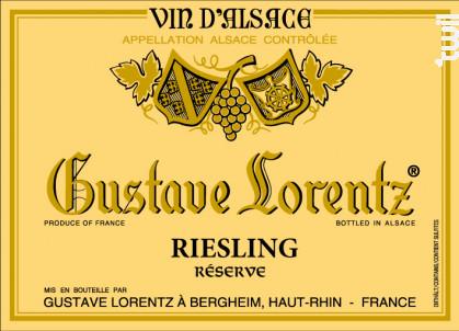 RIESLING réserve - Gustave Lorentz - 2018 - Blanc