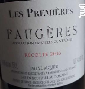 Les Premières - Domaine Jean-Michel Alquier - 2016 - Rouge