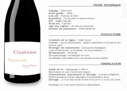 Charlouise - Domaine Vincent Pinard - 2013 - Rouge