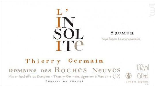 L'insolite - THIERRY GERMAIN - DOMAINE DES ROCHES NEUVES - 2015 - Blanc
