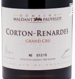 CORTON-RENARDES Grand Cru « Les Renardes » - Domaine Maldant - Pauvelot - 2012 - Rouge