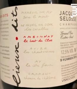 Le Bout Du Clos Ambonnay Blanc De Noirs - Champagne Jacques Sélosse - Non millésimé - Effervescent