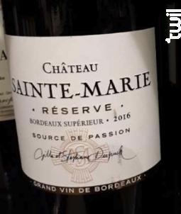 Réserve - Château Sainte Marie - 2016 - Rouge