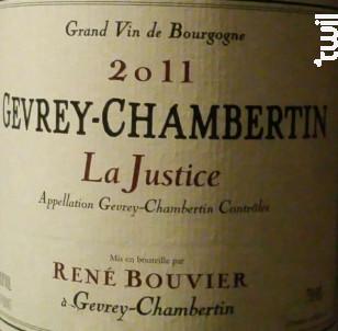 Gevrey-Chambertin - La Justice - Domaine René Bouvier - 2016 - Rouge