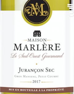 Jurançon sec. - Maison Marlère - 2016 - Blanc