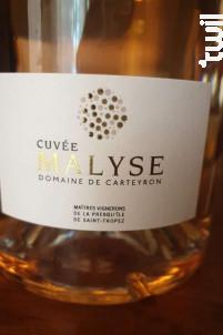 Cuvée Malyse - Les Maîtres Vignerons de la Presqu'île de Saint Tropez - Domaine de Carteyron - 2019 - Rosé