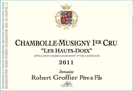 Chambolle-Musigny Premier Cru Les Hauts-Doix - Domaine Groffier Robert Père et Fils - 2016 - Rouge