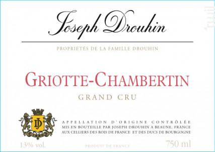 Griotte-Chambertin Grand Cru - Maison Joseph Drouhin - 1972 - Rouge
