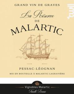 La Réserve de Malartic - Château Malartic-Lagravière - 2018 - Rouge