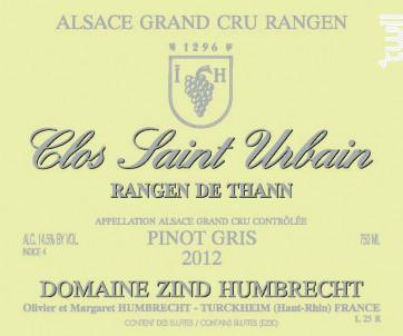 Gewurztraminer Rangen de Thann Clos-Saint-Urbain Grand Cru - Domaine Zind-Humbrecht - 2018 - Blanc